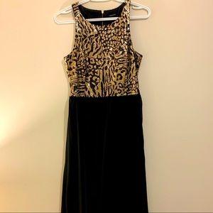 Gold Black Sequinned Dress Short front long back